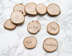 Wood Slice Place Settings / Rustic Place Cards / Escort Cards / Wedding Favours / Personalised Wooden Place Cards / Woodland Table Decor /