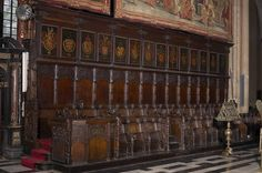 Golden Fleece Order stallplates, south wing, Kathedraal Sint-Salvator Brugge, by Pierre Coustain, 1478.