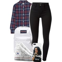 5:14:15 by codeineweeknds on Polyvore featuring Band of Outsiders, J Brand, Converse and JanSport