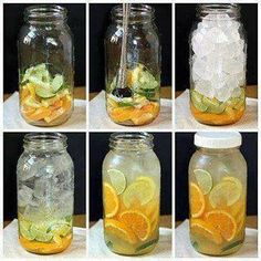 Body Flush and Detox Water  1 cucumber 1 lemon 1or 2 oranges 2 limes 1 bunch of mint  Slice them all and divided the ingredients between four 24 oz water bottles and fill them up with filtered water. Drink daily not only does this taste delicious and help flush fat, but also counts toward your daily water intake.