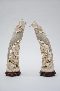 Chinese ivory peacocks