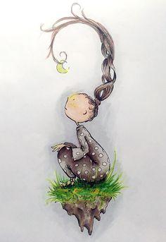 """moonwatcher"" @inketta  drawings / illustration for kids and inner kids. Look for Inketta on Instagram"