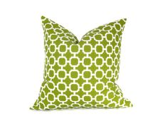 20x20 Pillow Cover Green Pillow Cover  Decorative Throw Pillow Green White Housewares 20 x 20 Printed fabric both sides Cushion Cover. $19.00, via Etsy.