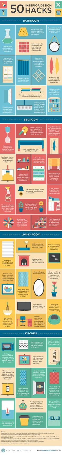 Home Storage & Organization|50 Home Interior Design Hacks|Vanessa Arbuthnott has made an infographic of interior design hacks that you can do yourself. There are 50 hacks,so try one.|By:Vanessa Arbuthnott|Source:casuable.com|This is a fantastic graphic with all kinds of sorted tips in one place to help you improve almost every room in your home. I know I'm going to try several of these ideas right away.