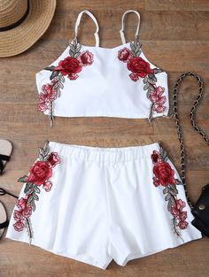 $17.66 Embroidered Bowknot Top With Shorts WHITE: Two-Piece Outfits | ZAFUL