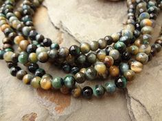 Tiger Eye, Smooth Rounds, Dyed Green, 6mm, 8 Inch Strands by DragonflyBeadsStudio on Etsy