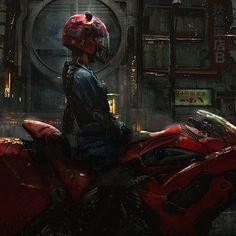 ArtStation - Shape in the darkness, Qi Sheng Luo Arte Cyberpunk, Cyberpunk Girl, Cyberpunk 2077, Dark Fantasy, Fantasy Art, Illustrations, Illustration Art, Afro Art, Biker Girl
