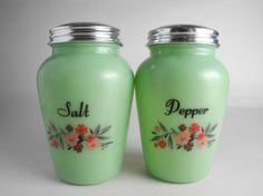 Vintage jadeite salt and pepper shakers