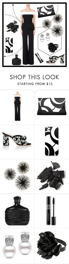 """Black N White"" by freida-adams ❤ liked on Polyvore featuring Roland Mouret, Loeffler Randall, Christian Dior, Yves Saint Laurent, phonecase, handbags and AtelierBriella"
