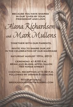 Country Wedding Invitations Rustic Rope Border Barn wood