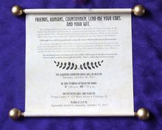 Create the perfect scroll invites for your Terror in a Toga murder mystery party! Percy Jackson Birthday, Percy Jackson Party, Scroll Invitation, Invitation Design, Mystery Dinner, Mystery Parties, Themed Parties, Greece Party, Debut Planning