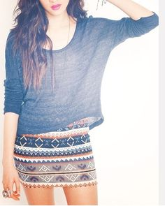 So cute! #Fashion #Skirt #LongSleeves...for me, just add tights or leggings.
