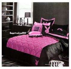 Bunny Wild Thing Black Pink Leopard 5pc Queen Coverlet Sheet Set