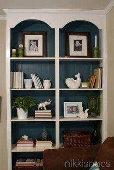 Room white bookshelves, painted bookshelves, gold shelves, pine bookcase, l Painting Bookcase, Painted Bookshelves, Bookshelves Built In, Pine Bookcase, Built Ins, Sauder Bookcase, Bookcase White, Casual Living Rooms, My Living Room
