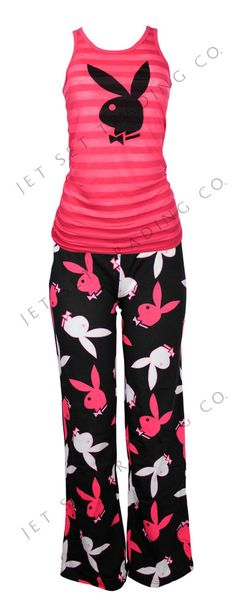 WOMENS 2PC STRIPED PLAYBOY BUNNY TANK & PANT PAJAMAS LOUNGE WEAR NEW~(SIZES S-L) #PlayboyIntimates #PajamaSets