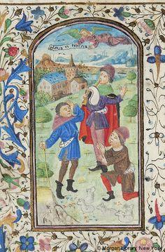 Book of Hours, MS M.251 fol. 96v -  Belgium, Tournai, ca. 1470 - Shepherds: Annunciation