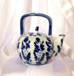 Chinese vintage teapot porcelain blue and by CoCoBlueTreasures