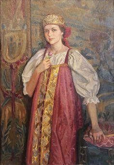 'Girl in Russian Costume' by Ivan Glazunov (b. 1969) #art