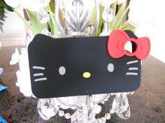 Hello Kitty IPhone 4 rubber black case by GlitzGlamourandBling, $12.00