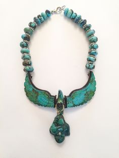Turquoise and Diamond Eagle Hand Carved, Art Decor, Turquoise Necklace, Eagle, Jewelry Design, Carving, Beads, Diamond, Inspiration