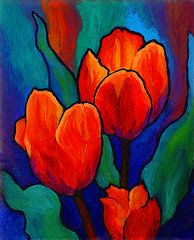 Flowers Paintings - Tulip Trio by Marion Rose
