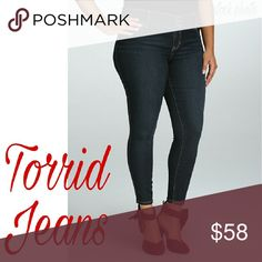 "Torrid - High Rise Dark Wash Jeggings Stitching is white. Jeans are a solid dark blue. The upper thighs are solid blue also. Size is a 22. Inseam is 28.3"". I never sell my Torrid jeans but I can't fit these. New with tags. torrid Jeans Skinny"