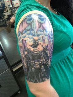 Colourful Batman half-sleeve