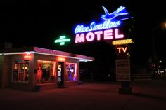 Tucumcari's Blue Swallow, one of the most iconic of all Rt 66 neon signs.