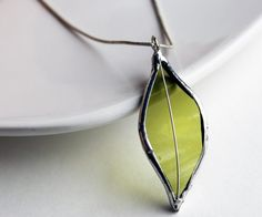 Stained Glass Jewelry Necklace - Re Purposed Wine Bottle - Light Green