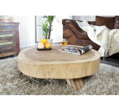 Table basse design ronde en bois Wood 70 cm