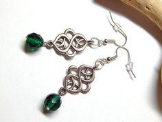Celtic Earrings  Emerald Green Czech Glass by MURPHYSTREASURES2, $12.00