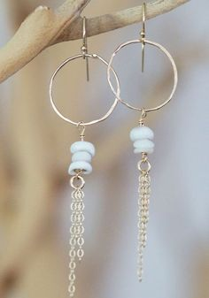 Leahi Girl 14kt Gold Filledhand formed Circle with Triple Puka Shell dangly Earrings
