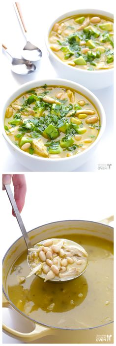 5-Ingredient White Chicken Chili -- hands-down, the easiest, quickest, tastiest soup I know! | gimmesomeoven.com