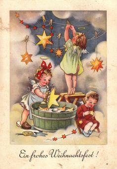 AK, Weihnachten, Elfriede Türr, Engelchen hängen Weihnachtssterne an die Wolken* | eBay