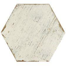 """Hexagon 14.13"""" x 16.25"""" Porcelain Tile in White"""