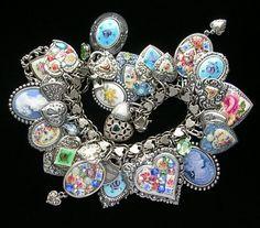 Vintage Sterling Silver Enamel Roses Guilloche Heart Charm Bracelet Mosaics Cameo Flowers