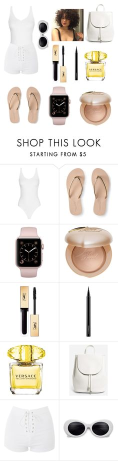 """""""Untitled #1673"""" by dogs109 ❤ liked on Polyvore featuring Aéropostale, Too Faced Cosmetics, MAC Cosmetics, Versace, Everlane and Topshop"""