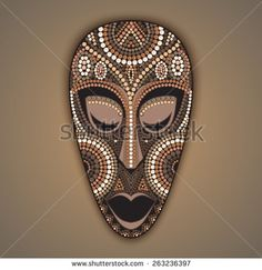 Stock Images similar to ID 24490762 - vector african mask with hand. Mask Painting, Dot Painting, Tiki Maske, African Art Projects, Africa Art, Cardboard Art, Masks Art, African Masks, Hanging Art