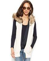 MICHAEL Michael Kors Sleeveless Faux-Fur Hooded Sweater