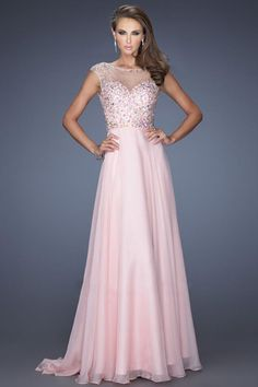 2014 Scoop Neckline Beaded Bodice A Line Open Back Sweep Train With Chiffon Skirt