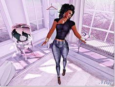 Signature * ZD * I bring you the latest news a cowboy pants with high waist and applicators Banned, Omega, Phat / Cute, Brazilia, Ghetto, Perfec Bum, Eve Body Mesh, KL Lena Body, Brazilia Doll, Slink Physique, beauty, TheMeshProject, Banned Dea and Maitreya, and a basic black top.