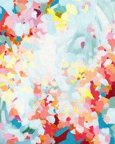 Blossoming III / abstract summer flower art / fine art print / pink flower artwork / living room wall art / feminine art / bedroom wall art
