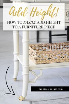 DIY Home Decor Ideas : Illustration Description How to make a furniture piece taller using mini casters from Liberty Hardware. -Read More – Diy Furniture Plans, Furniture Making, Furniture Makeover, Furniture Repair, Log Furniture, Furniture Refinishing, Furniture Deals, Painting Furniture, Upcycled Furniture