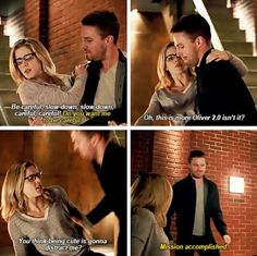 """You think being cute is gonna distract me?"" - Felicity and Oliver #Arrow"