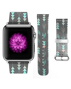 Apple Watch Strap iWatch Genuine Leather Replacement Watch Band Buckle Watch Strap Regular-length Design for Apple Watch for Woman (38mm) Blue and Pink Arrow Review 2017