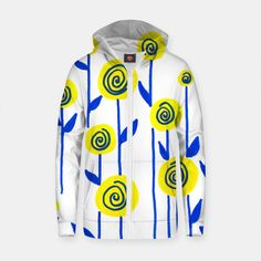 Blue and Yellow  Cotton zip up hoodie#womensfashion#yellow#blue#floral#hoodie#products#love#mjscraftedconcepts#