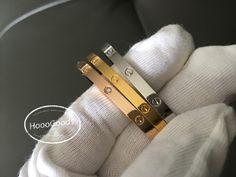 Cartier Love Bracelet yellow gold, white gold, rose gold thin / small Model Diamond Bracelets, Love Bracelets, Cartier Love Bracelet, Bangles, Pink And Gold, White Gold, Rose Gold, Yellow, Model