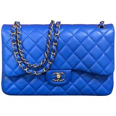e66e62fa4a8d Chanel Double Flap Bag Jumbo Blue Shoulder Bag Quilted Lambskin 2016