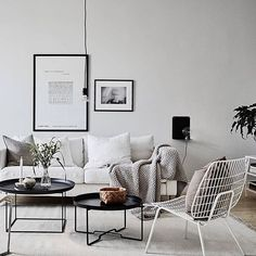 Love this gorgeous Scandi interior! Spot our WM string white lounge chair by @menuworld we have 2 left in stock with a light grey cushion pad Shop this beauty on www.thebowerycompany.com & enjoy 10% OFF & FREE UAE delivery @greydeco.se