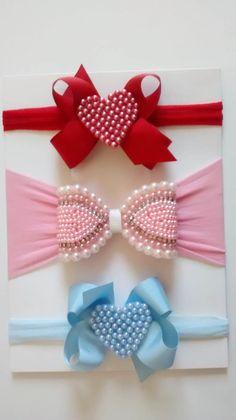 Pink and White Minnie Mouse Hair Bow Felt Headband, Baby Girl Headbands, Newborn Headbands, Baby Bows, Felt Hair Accessories, Satin Ribbon Flowers, Macrame Design, Girls Bows, How To Make Bows